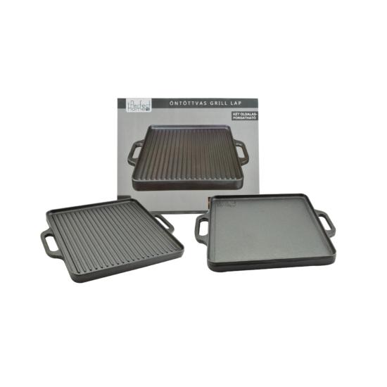 Perfect Home Öntöttvas grill lap 2 oldalas 42*42 cm 12971