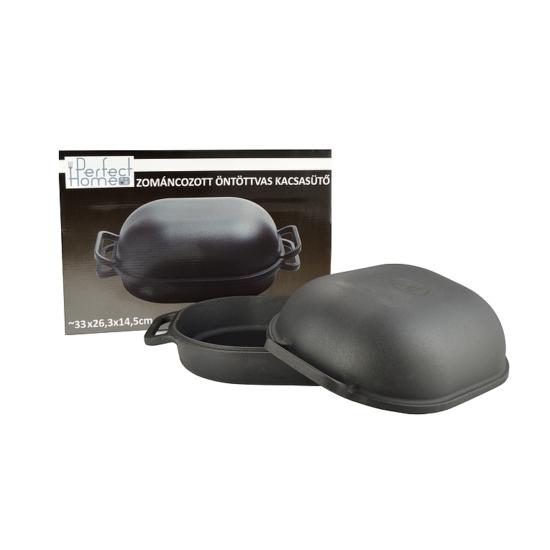 Perfect Home Zománcozott öntöttvas kacsasütő kúpos matt fekete 15024