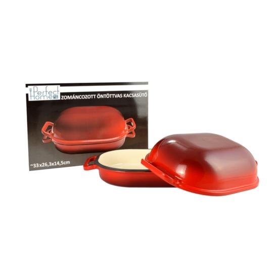 Perfect Home Zománcozott öntöttvas kacsasütő kúpos piros 15025